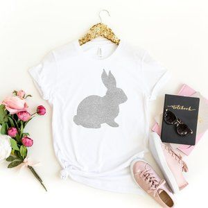 🐇💛 Silver Glitter Easter Bunny T sbirt - NEW